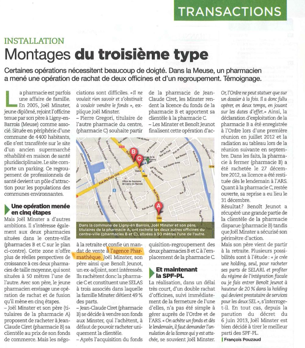 SELAS - Regroupement de pharmacies, Article Le Moniteur
