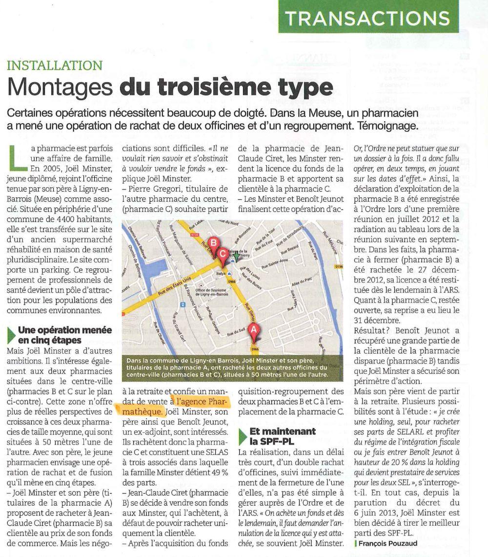 SELAS - Regroupement de pharmacies, Article Le Moniteur