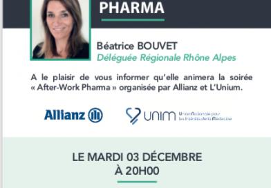 A vos agendas ! Le 3 décembre 2019  soirée «After-Work» organisée par Allianz et l'Unim.